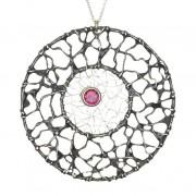 Woven Circle with Rhodalite Garnet